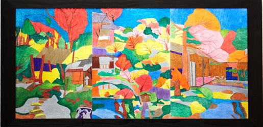 「季節の庭」色鉛筆・ペン 1270×620mm_s