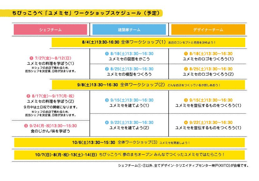「ユメミセ」ワークショップ スケジュール(予定)